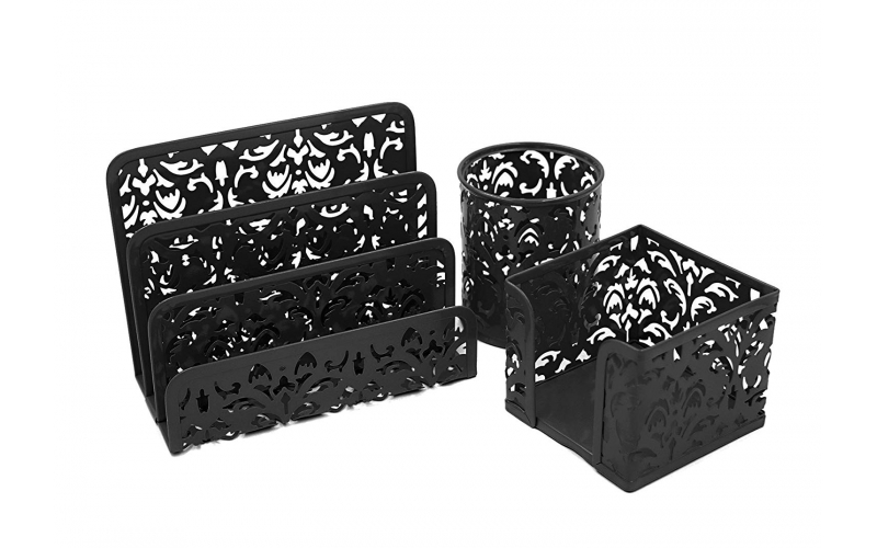 Carved Hollow Flower Pattern 3 in 1 Desk Organizer Set