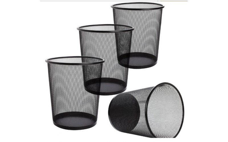 4 Pack Trash Can Mesh Round Open Top Wastebasket - 2.5 Gallon Recycling Bins Garbage Small Waste Baskets for Office Home