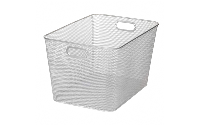 Home Silver Mesh Open Bin Storage Basket Organizer for Fruits Vegetables Pantry Items Toys Etc