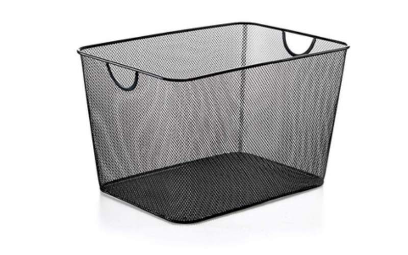 Household Wire Mesh Open Bin Shelf Storage Basket Organizer Black for Kitchen Pantry Cabinet Fruits Vegetables Pantry Items Large Trays
