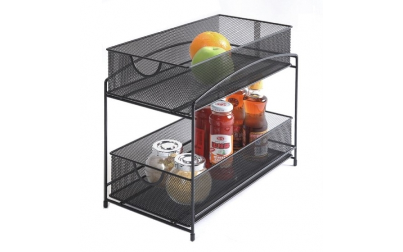 2-Tier Storage Organizer Spice Jars Shelf Holder Rack Kitchen Sink Storage Trays