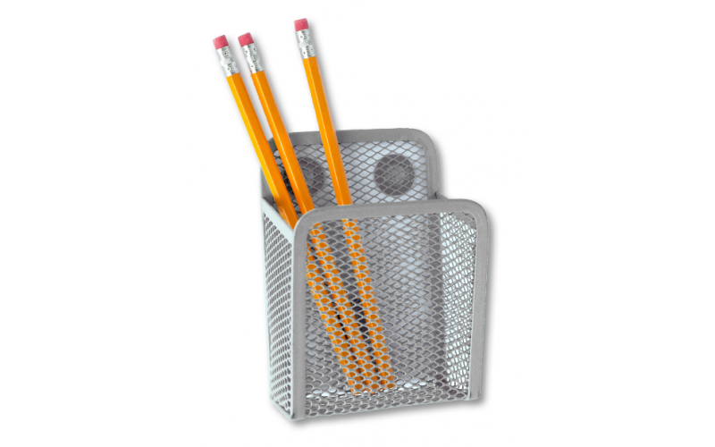 Magnetic Sturdy Metal Mesh Pencil Holder Storage Basket Organizer for Whiteboard/Refrigerator/Magnetic Surface (Black)