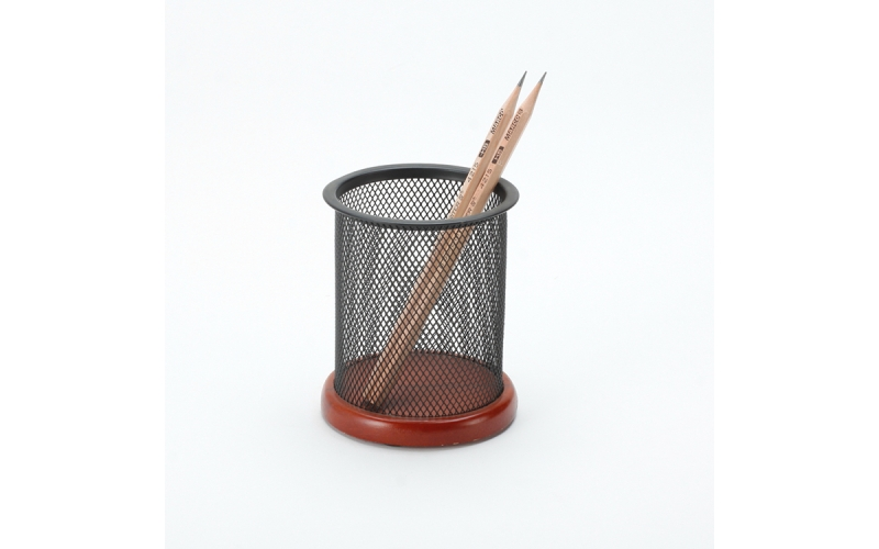 Low Price Good Quality Desktop Organizer Office Metal Mesh Pen Holder With Wood Base