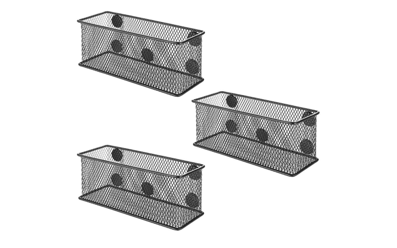 Office Stationery Pen Organizer Set Of 3 Black Desktop Table Metal Wire Mesh Magnetic Storage Baskets For Fridge Whiteboard