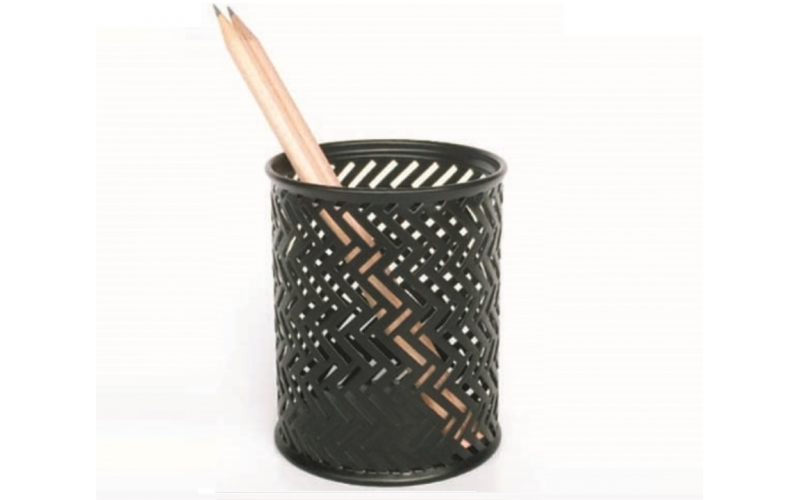Black Steel Mesh Desk Pen Pencil Holder Round Pen Container Pencil Cups Desk Organizers for Home Office